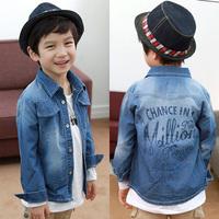 2014 spring and autumn clothing boys letter child long-sleeve denim shirt tx-2120