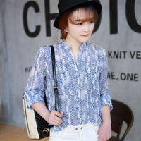 2014 Spring new women's Korean turn-down collar floral plaid shirt slim chiffon casual long-sleeved blouse