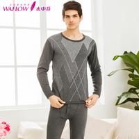 Illusion male plus velvet thickening brief men's cotton autumn and winter thermal underwear set