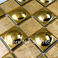 Glass gold ceramic tile mosaic art wall pattern decorative floor tile