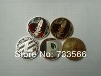5 pcs/lot Digital Physical Coins Litecoin Bitcoin Peercoin Fearther Coins