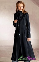 Autumn and winter black long design single breasted fashion sheep trophonema women's trench wool coat ultra long big outerwear