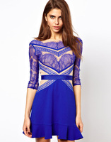 Free Shipping Blue Colour Lace Sexy Mini Dress Ball Gowm Women's Fashion Cute Celebrity Dress Hot Sale In Stock