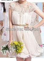 2014 European&American Style New Gorgeous Women Emboridery Hollow Out Butterfly Sleeve Vestidos Lace Swing Party Prom Dresses!