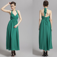 Free Shipping 2014  New Summer  Elegant Teal Halter V-Neck Eye Catching  Prom Ball Gown  Patry  Bridesmaid  Lace Up   Dress
