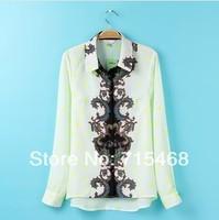 New2014Spring - Summer pentagram placket collar printed long-sleeved wild women blouses&shirt clothing sheer ladies blouses tops