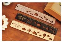 Free ship 1lot=15PCS/Korean stationery kawaii cute wooden ruler New Fashion Drawing rule Creative ruler