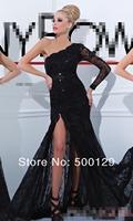 Glamorous Black Long Sleeve Mermaid Glitter Beaded One Shoulder Long Side Slit Lace Evening Dress 2014