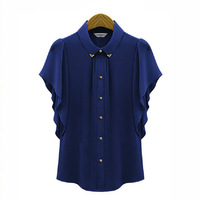 Женские блузки и Рубашки New Fashion Elegant Korea style Women Slim Hollow Out Cotton Blouse Turn-Down Collar Sleeveless Shirt T0093