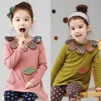 2014 autumn and winter flower girls clothing child velvet thickening t-shirt basic shirt tx-2501