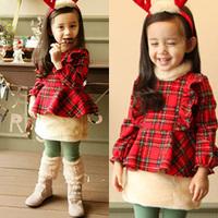2014 autumn and winter plaid girls clothing child thickening fleece long-sleeve dress qz-1103
