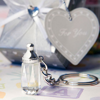 2014 hot sale! crystal baby bottle keychain for Wedding Favors and Gifts souvenirs Party Decorations mass stock