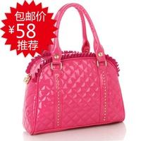 2013 spring and summer vintage japanned leather handbag fashion casual fashionable portable women's one shoulder handbag bag