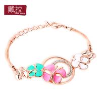 TOP Classic Vintage Crystal Bracelet 18K Real Gold Plated Fresh Color Charm Flower Bracelets For Women TN021