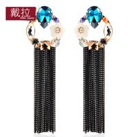 2014 Gift Luxury Jewelry Gold Color Long Tassel Created Gemstone Drop Earrings For Women TN364