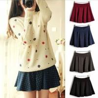 2014 New  Style  women  skirt  printed  DOT  pleated  girl  skirt   Lolita  Style   4 candy  colors  mini  skirt 8121