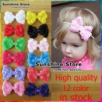 "Sunshine store #2F0007 20pcs/lot(12 colors)3.15"" rose Bowknot Kids Hair styling Accessories Children Girls Headbands Flowers"