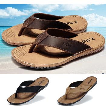 Men's flip flops Натуральная кожа Slippers Summer Модный beach sandals shoes