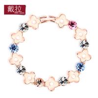 fashion Bracelet women's sweet all-match four leaf grass rose gold alloy rhinestone decoration TB020