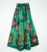 National trend cascading full dress all-match chinese style vintage hanfu fluid bust skirt plus size cotton prints green