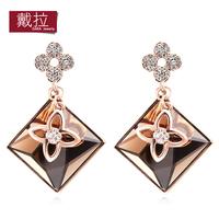 Wholesale 2014 New Fashion Trendy Cute Star Shaped Rhinestone Crystal Stud Earrings for Girls Women Jewelry Hot TE395