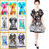 2014 Free Shipping New Arrival Spring Plus Size Elegant O-Neck Short-sleeve Slim Female Dress 4XL ST-PL001