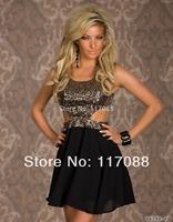 Hot Sale Summer New Fashion Dress 2014 Patchwork Sequins with Chiffon Mini Dress Women Party Dresses Short