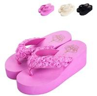 Promotion!!!2014 new arrive women platform wedges flower flip flops women summer slippers beach flip flop 3 colors