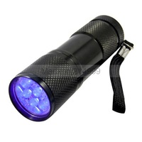 9LED 9 LED mini torch UV Light 395-400nm LED Flashlight /AAA battery small torch/not rechargeable torch
