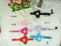 Triple Mini Satin Ribbon Roses Headbands With Metal Pearl Center Baby headbands Baby Flower Headbands 5PCS/LOT
