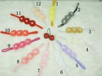 Baby Triple satin ribbon rolled rose flower headbands DIY layered flower with Pearl on skinny elastic Headband 10pcs/lot