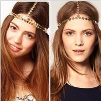 HD02 2014 New Celeb Style Women Hariband Headwear Vintage Metallic Hippie Goddess Bronze Grecian T-bar Headband Free Shipping
