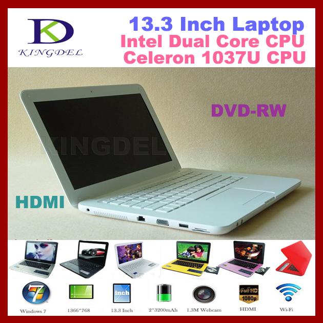 640GB HDD 13 inch Laptop notebook wirh Intel Celeron 1037U Dual core 1.8Ghz,2GB RAM, DVD Burner, WIFI, Webcam ,windows 7 OS(Hong Kong)