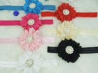 Wholesale - - 2.5''The new chiffon flower with Pearl Button Baby flower headbands newborn headband 8pcs/lot