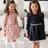 5pcs Children girl's 2014 spring and autumn girl child gold polka dot princess puff sleeve dress long-sleeve dress QZ89