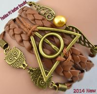 Vintage bracelets owl Harry Potter Deathly Hallows wings Imitation pearl woven leather bracelet JZ-008 free shipping