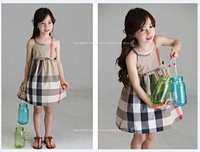 2-7yrs kdis dress 2014 girls casual dress suspender lacing style classic plaid dress summer children's best choice high quality