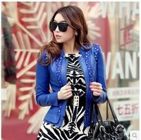 Hot ! 2014 Spring And Autumn New Korean Stand Collar Slim Short Zipper Design Rhinestone Plus Size Leather Jacket Women M-XXXL
