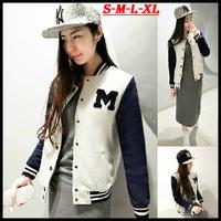 2014 New arrival women preppy style M letter plus size fleece sweatshirts girls baseball jacket cardigan hoodies Y-434