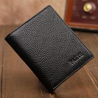2014 High Quality Fashion 100% Cow Genuine Leather Short  Men Wallet Top Sales Mini Men Wallets/Purse For Male Black Color