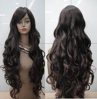 NEW Dark brown long curly WIG+ wigs cap