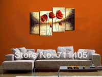 3 Size Free shipping/hand-painted  flowers decoration abstract Landscape oil painting on canvas 4pcs/A-376