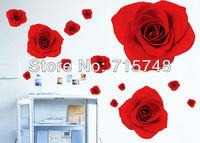 free shiping DIY wall decorative romantic red rose wall sticker for room decor 50*70cm vinyl 3pcs=11.99USD