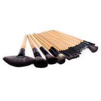 24Pcs Professional Wood Makeup Brushes Kit Cosmetic Make Up Set + Pouch Bag Case Black