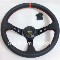 "14"" OMP Steering Wheel Genuine Leather / Deep Dish OMP Leather Steering Wheel Red Stitch with Carbon Fiber Cover"