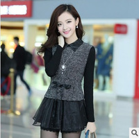 New Arrival high-grade spring 2014 Korea long sleeve lace slim dress women's top for ladies G1039