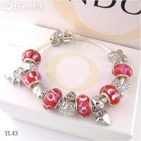925Beautiful women fashion 925 sterling silver charm bracelet Chamilia crystal bracelet, free shipping