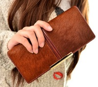 Free shipping 2014 New Women Long fur purse cross section PU Pima hair wallet