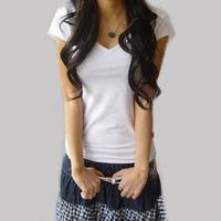 2014 summer all-match t-shirt women's short-sleeve T-shirt 100% plus size cotton slim white  basic shirt