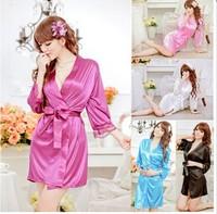 2014 New Design New Women's Nightdress Sleepwear Robe Bathrobes G String Thongs Pajamas Silk Sleepwear Nightdress Lingerie